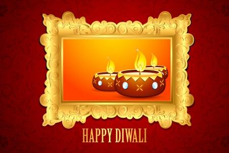 diya: ilustraci�n del decorado Diwali Diya en fondo fondo floral
