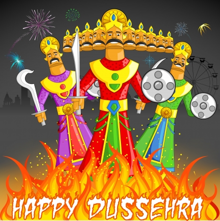 illustration of Raavan Dahan for Dusshera celebration Vector