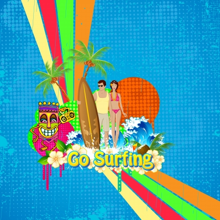 surf girl: illustration of couple standing with surf board on retro background
