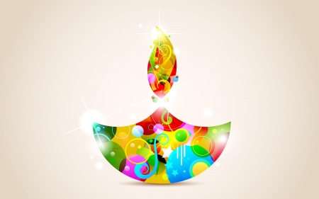 illustration of colorful diya for Happy Diwali