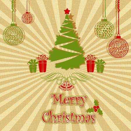 illustration editable: illustration of decorated pine tree on Christmas card