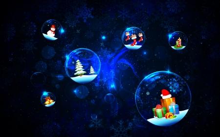 illustration of christmas decoration bubble on snowflake background Stock Illustration - 15901124