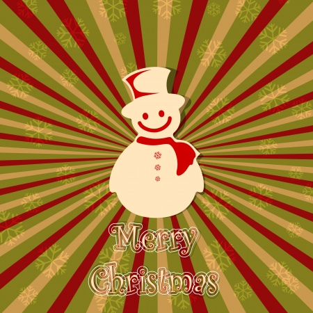 illustration of snowman in vintage Christmas card Stock Vector - 15901012