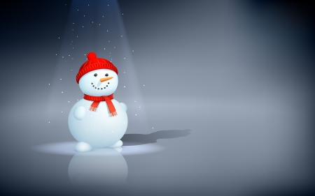 the snowman: illustration of snowman under Christmas spotlight