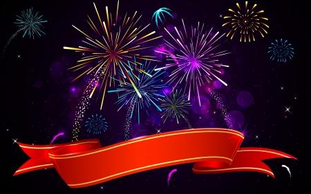 petardo: ilustraci�n de la bandera de fuegos artificiales de colores sobre fondo abstracto Vectores