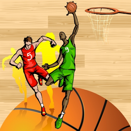 illustration of basketball player playing on abstract background Stock Vector - 16022770