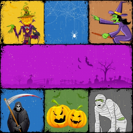 witch hat: illustration of collage for different concept of Halloween Illustration