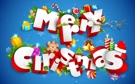 seasons greetings: illustration of Merry Christmas text with other element