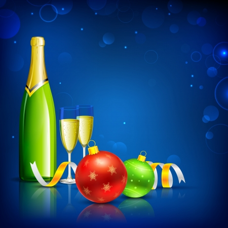 illustration of champagne glass with bottle and christmas bauble Vector