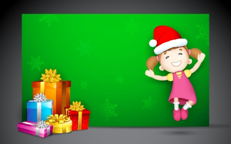illustration of 3d girl jumping with Christmas gift Stock Vector - 16022783
