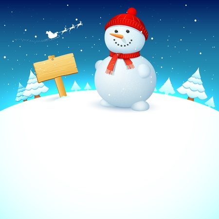 illustration of snowman on snowy landscape in christmas night Stock Vector - 16022784