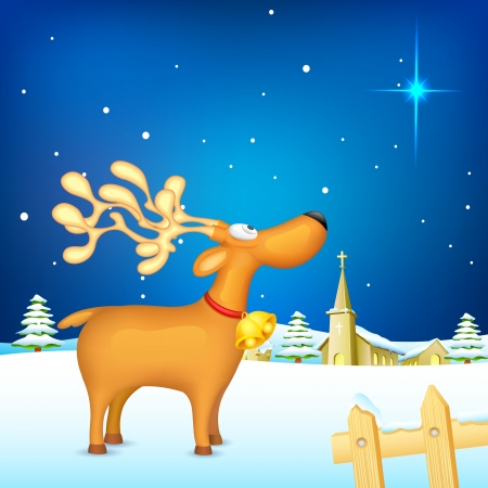 illustration of reindeer standing in snowy christmas night Vector