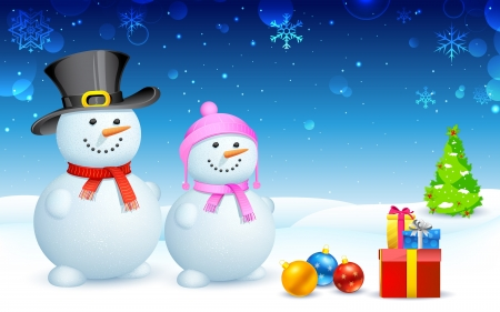 illustration of snowman and lady with Christmas gift Vector