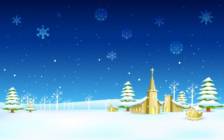 illustration of church in winter landscape in Christmas night Stock Vector - 16022779