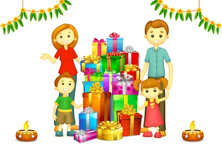 illustration of 3d happy family in vector with Diwali gift and Diya Vector