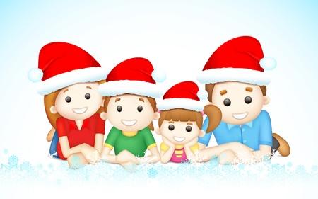 illustration of 3d happy family in vector wearing Santa cap laying on floor Illustration