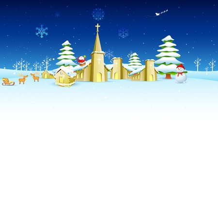 illustration of church in winter landscape in Christmas night Stock Vector - 16022788