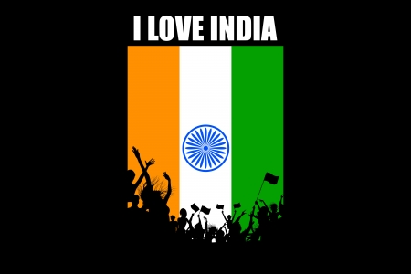 india culture: illustration of Indian citizen waving flag on tricolor flag Illustration
