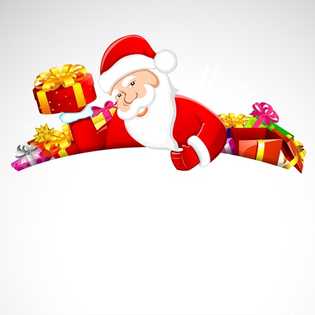 illustration of santa claus holding pile of gift boxes illustration