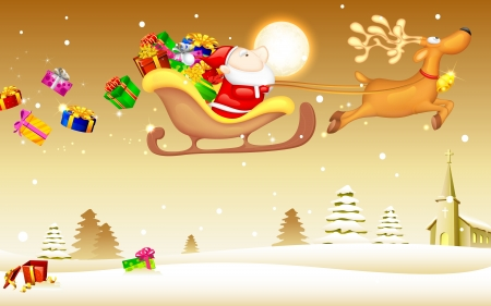 santa's deer: illustration of Santa Claus riding in sledge with Christmas gift Illustration