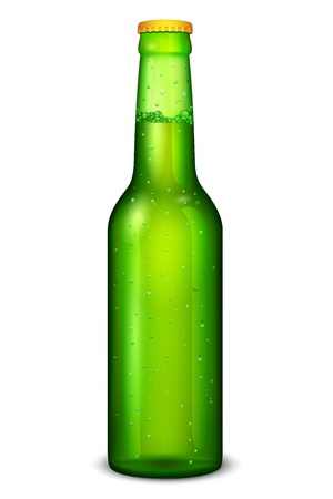 brewed: illustration of beer bottle on white background Illustration