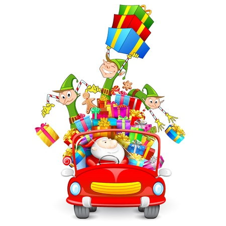 illustration of Elf throwing Christmas gifts from car with Santa Claus