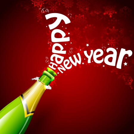 illustration of explosion of champagne bottle cork for Happy New Year celebration Vector