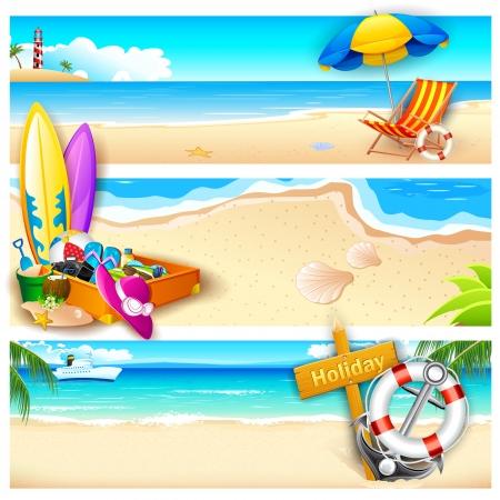 strandstoel: illustratie van sjabloon voor vakantie op zee strand Stock Illustratie