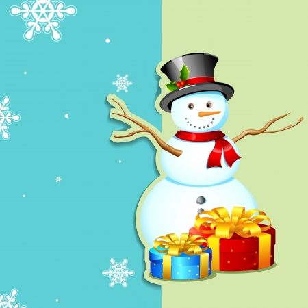 illustration of snowman with gift box in Christmas card Vector
