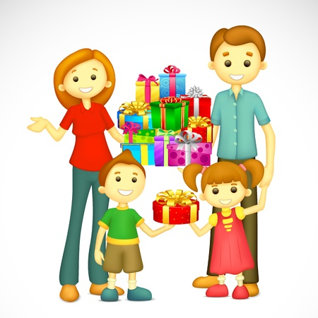 indian family: illustration of 3d happy family  with holiday gift