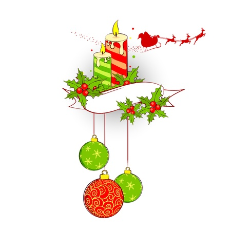 illustration of Christmas decoration with candle and bauble Stock Vector - 16125086