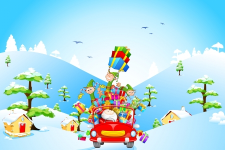 santa cap: illustration of Elf throwing Christmas gifts from car with Santa Claus