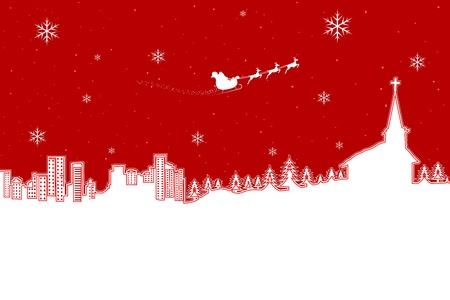 illustration of winter landscape in Christmas night Vector