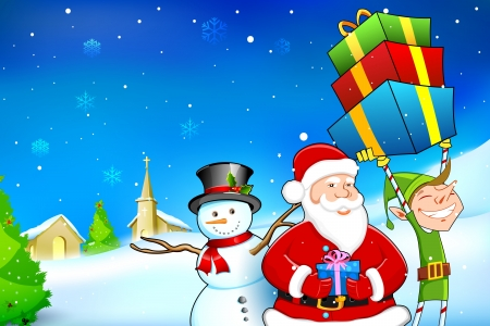 christmas house: illustration of Santa Claus with Snowman and Elf distributing Christmas gift