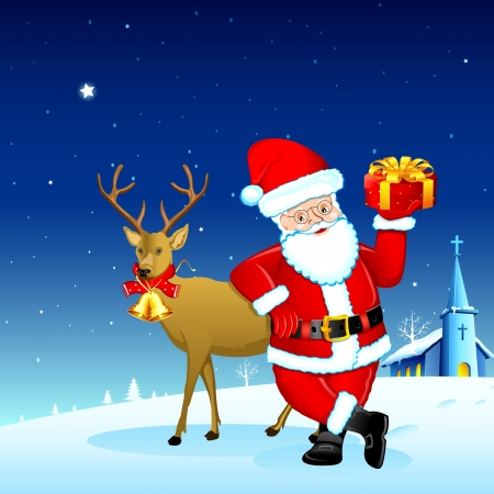 illustration of Santa Claus holding Christmas gift with deer Vector