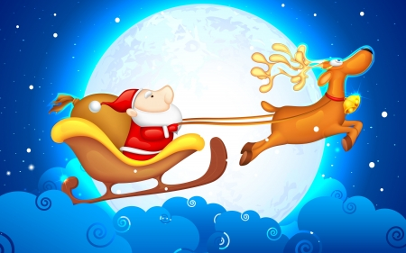 santas sleigh: illustration of Santa Claus riding in sledge on Christmas