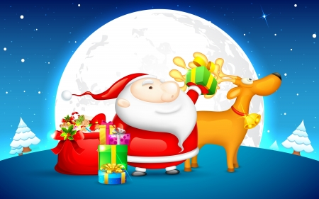 illustration of Santa Claus holding Christmas gift with deer Stock Vector - 16245839