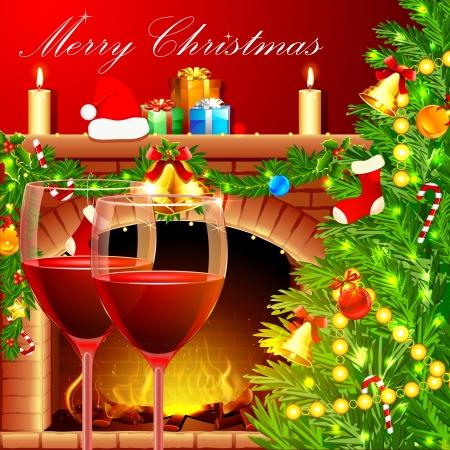camino natale: illustrazione di albero di Natale decorato con un bicchiere di vino vicino a camino Vettoriali