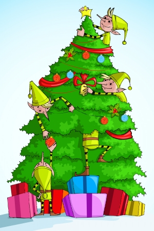 nicholas: illustration of Elf decorating Christmas tree with colorful gift