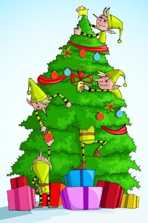 elf christmas: ilustraci�n del �rbol de la decoraci�n de la Navidad del duende con el regalo colorido