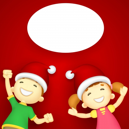 illustration of kids with Santa hat enjoying Christmas Stock Vector - 16245811