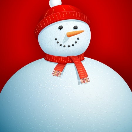 illustration of snowman wearing scarf in Christmas Card Vector