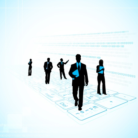 technological: illustration of business people on technology background with keyboard Illustration