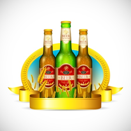 illustration of beer bottle with ribbon and barley straw Stock Vector - 16601460