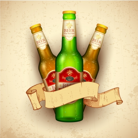 beer drinking: illustration of beer bottle with ribbon on grungy background