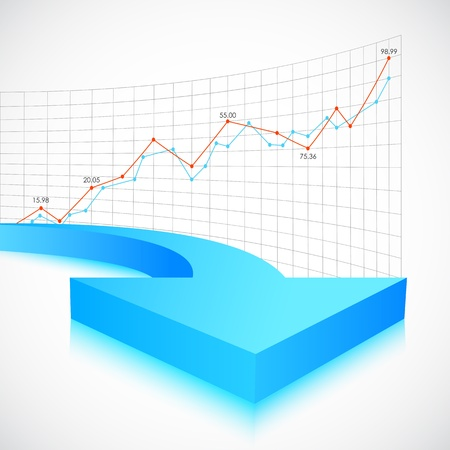moving forward: illustration of business arrow on graph background