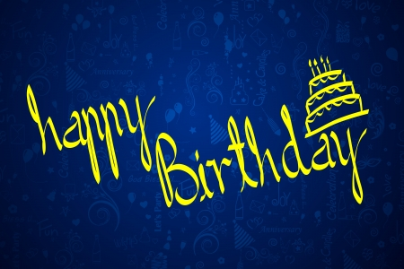 illustration of Happy Birthday background with cake Vector