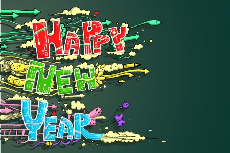 illustration of Happy New Year doddle with cloud Stock Vector - 16601439