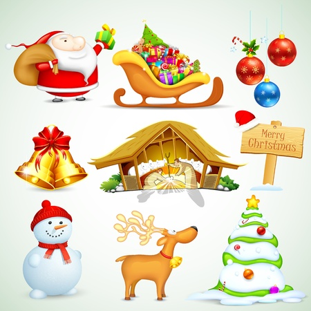 santas sleigh: illustration of set of Christmas object for design