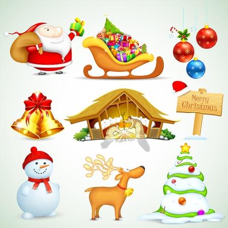 papa noel trineo: Ilustraci�n del conjunto de objetos de Navidad para el dise�o